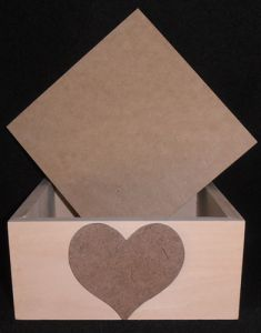 Box - 6 X 6 Wood with heart applique