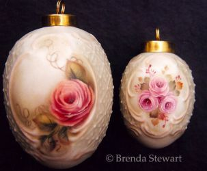 Roses on Fancy Egg Ornaments